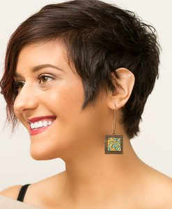 Isabelle Square Frenchback Earrings Model