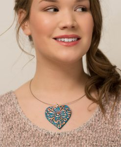 Adelaide Heart Choker Necklace Model