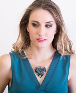 Kaya Stacked Heart Necklace Model