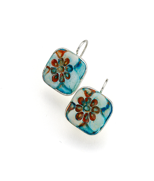 Sahara Square Flower Frenchback Earrings